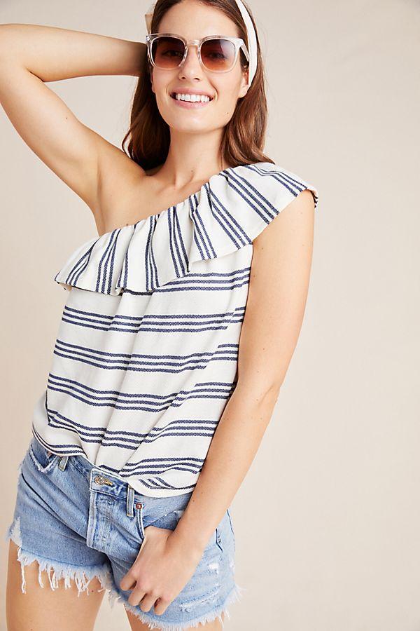 Slide View: 1: Striped Knit One-Shoulder Top