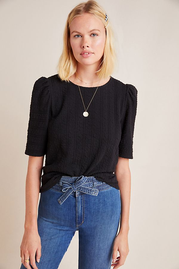 Slide View: 1: Sutton Puff-Sleeved Top
