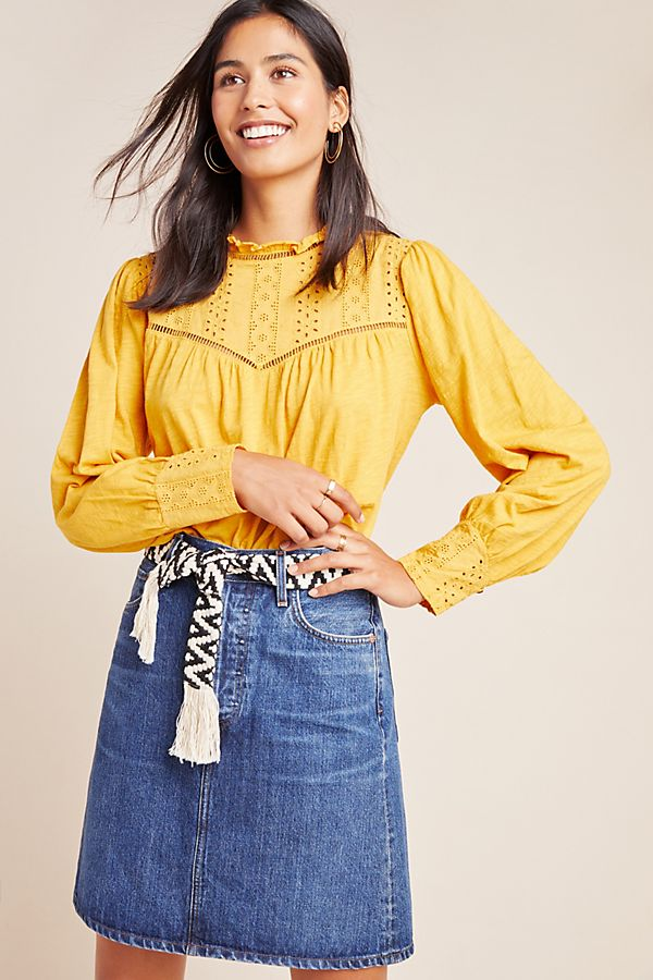 Slide View: 1: Allegra Eyelet Peasant Top