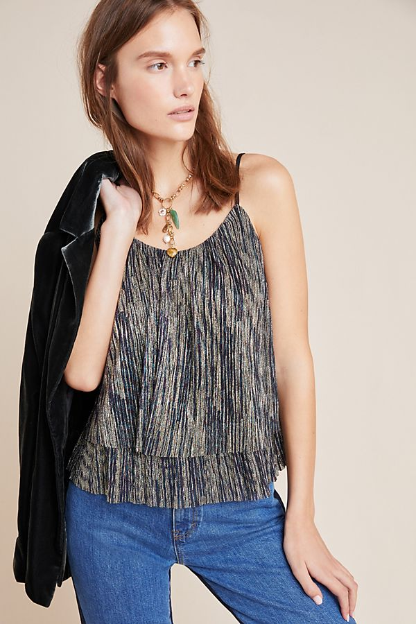 Slide View: 1: Mara Pleated Shimmer Cami