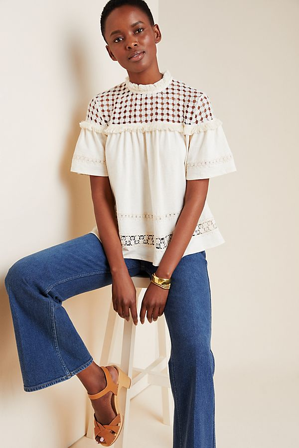 Slide View: 1: Myla Embroidered Lace Top