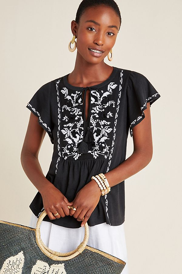 Slide View: 1: Alexandrine Embroidered Blouse