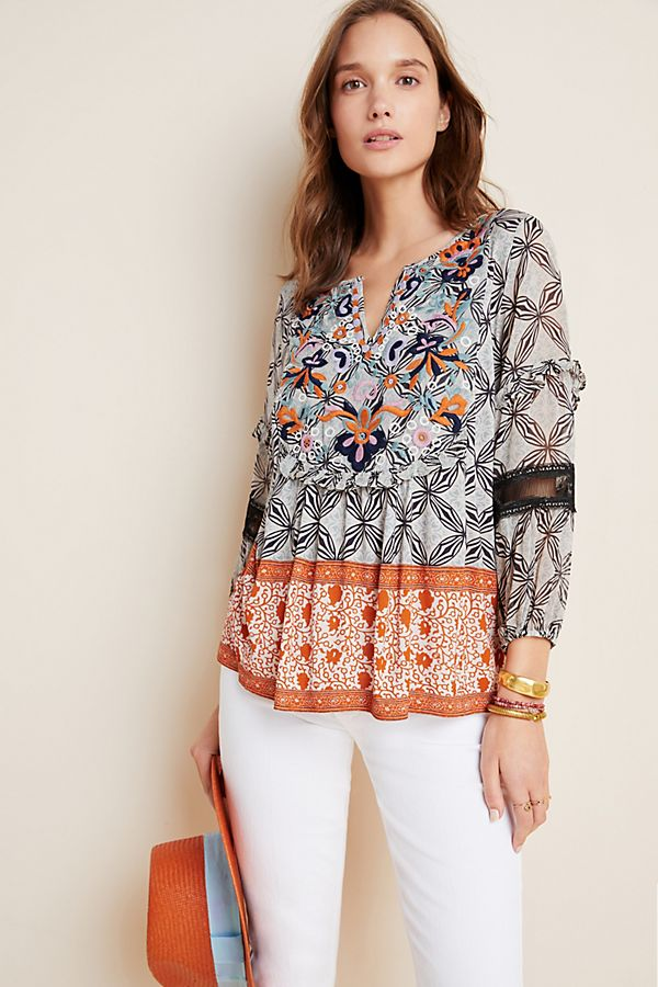 Slide View: 1: Terri Embroidered Top