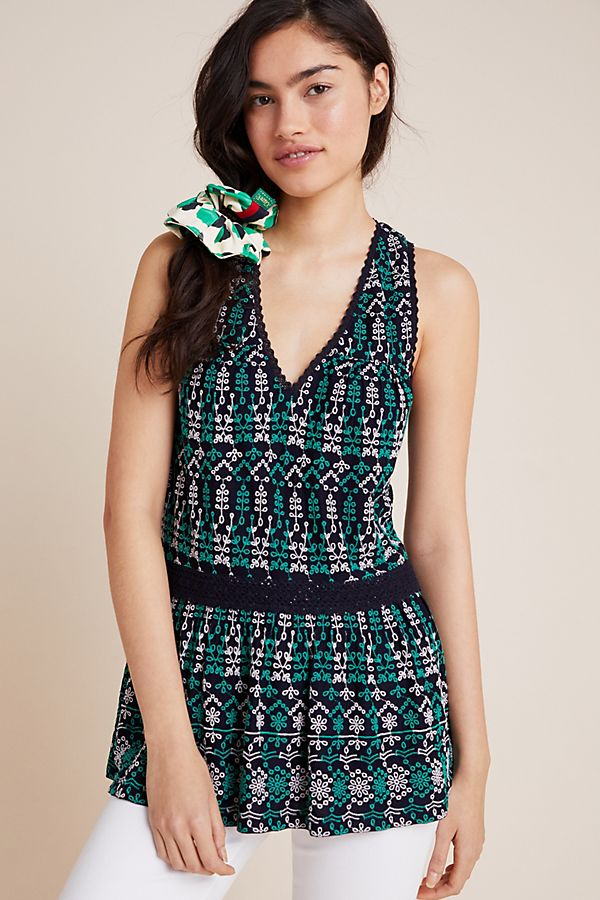 Slide View: 1: Cammie Embroidered Peplum Top