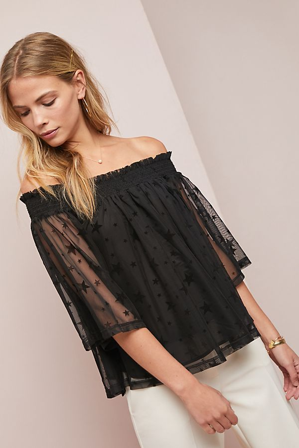 1868b3ee0b76ad Starry Off-The-Shoulder Top