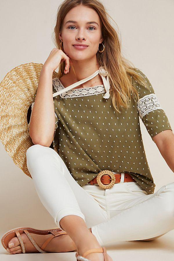 Anthropologie Maeve Texture Ladder Lace Blouse Top New