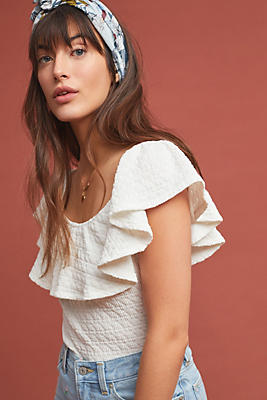 Slide View: 1: Textured Off-The-Shoulder Top
