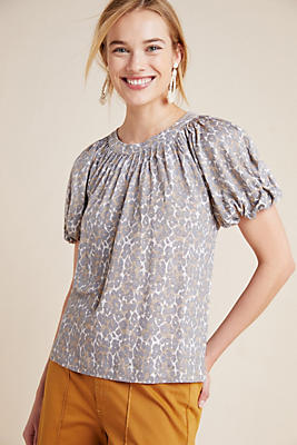 Slide View: 1: Linen Puff-Sleeved Top