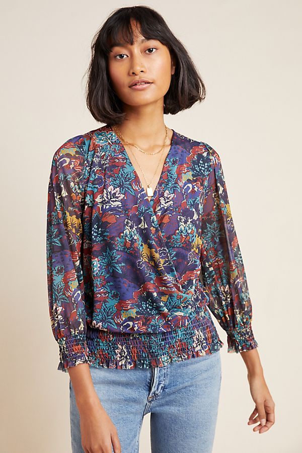 Slide View: 1: Ines Smocked Surplice Top