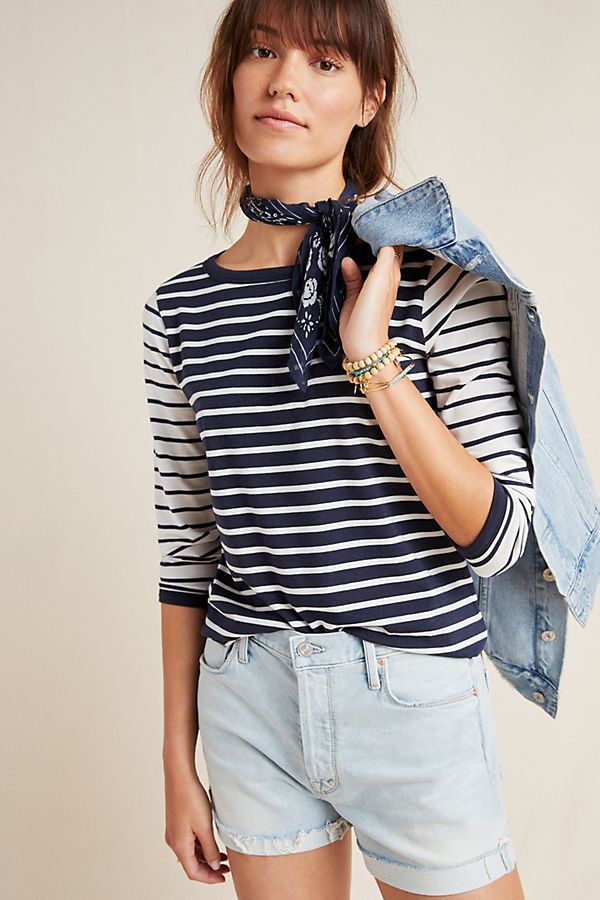 Slide View: 1: Contrast Striped Tee