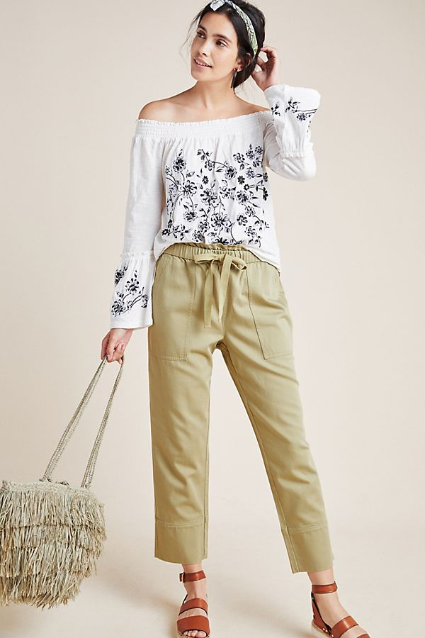Annie Embroidered Off The Shoulder Blouse by Anthropologie