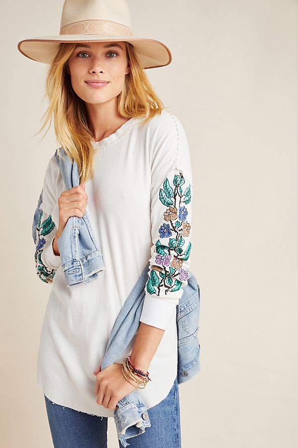 Slide View: 1: Effie Embroidered Thermal Tee