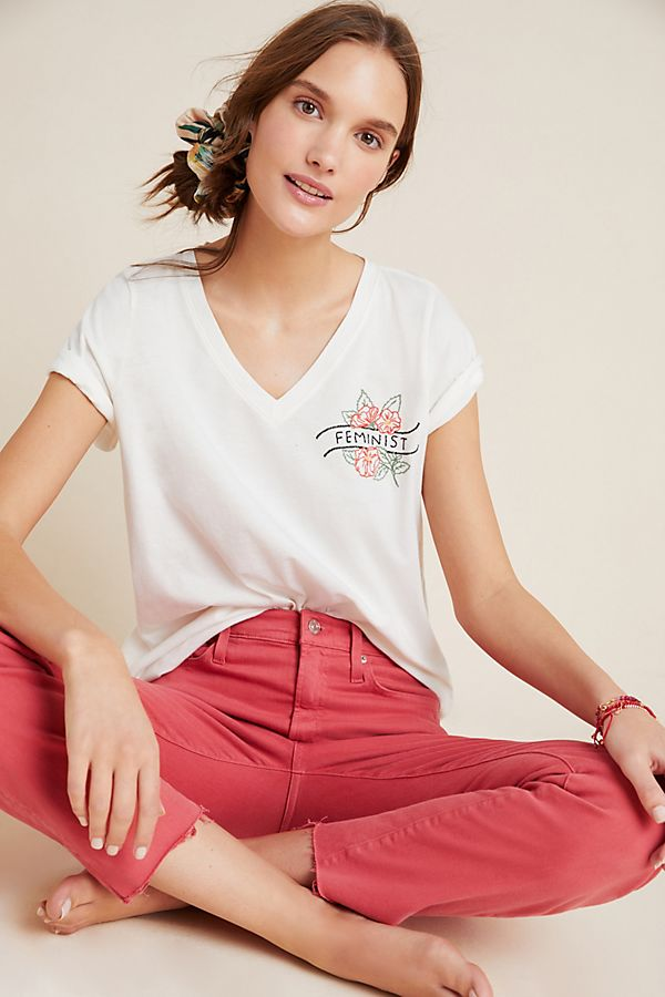 Slide View: 1: Feminist Embroidered Tee