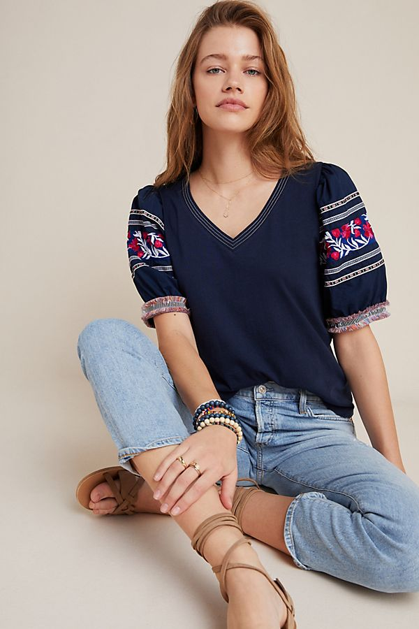 Slide View: 1: Tessann Embroidered Top
