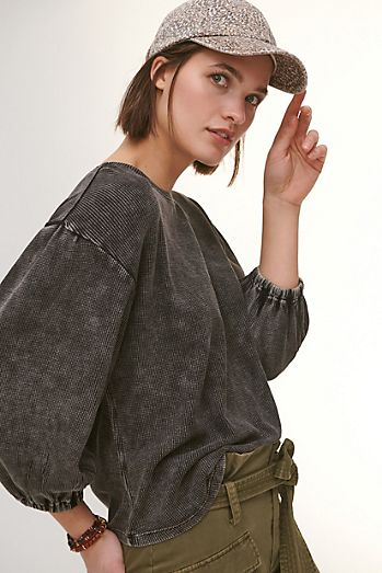 Pilcro Washed Waffle Top Anthropologie