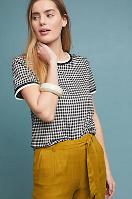 Slide View: 1: Gingham Knit Top