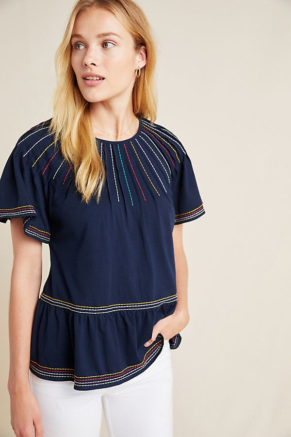 Slide View: 1: Chamonix Embroidered Swing Top