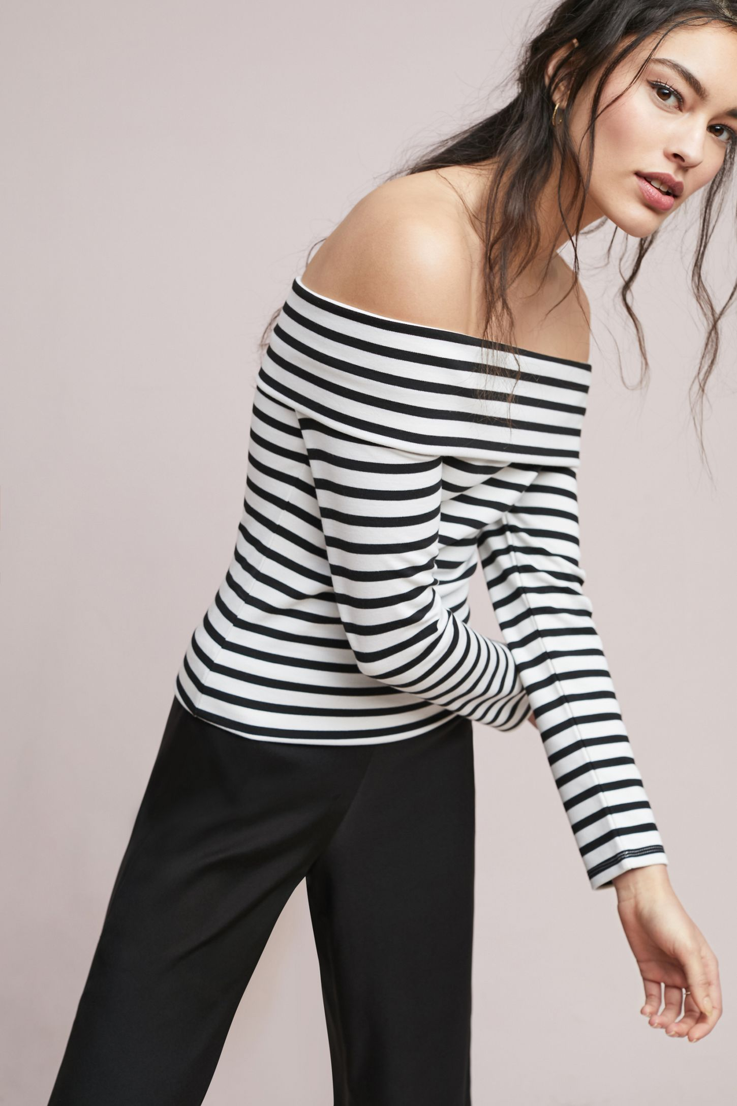 a5492a94c8819 Alta Striped Off-The-Shoulder Top