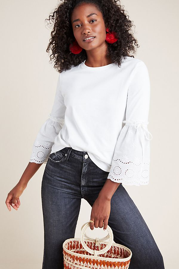 Slide View: 1: Paloma Eyelet Sleeve Blouse