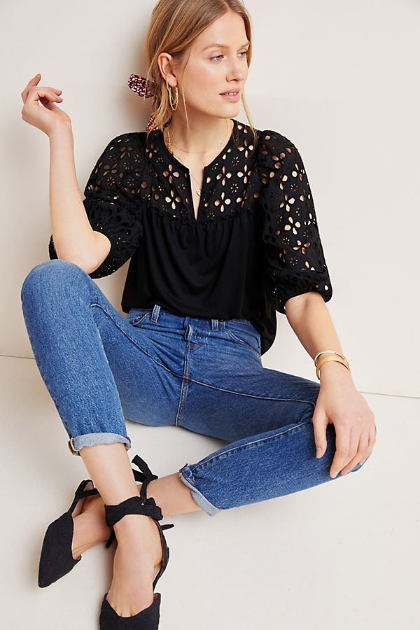Slide View: 1: Edith Eyelet Top