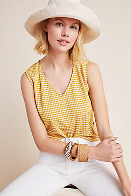 Slide View: 1: Buttoned Gingham Tank