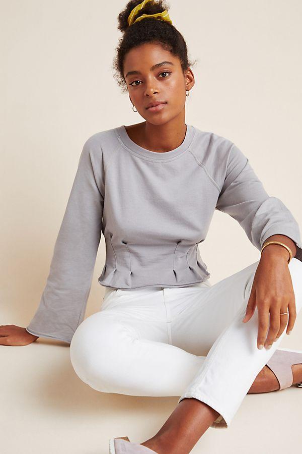 Slide View: 1: Dara Pleated Sweatshirt