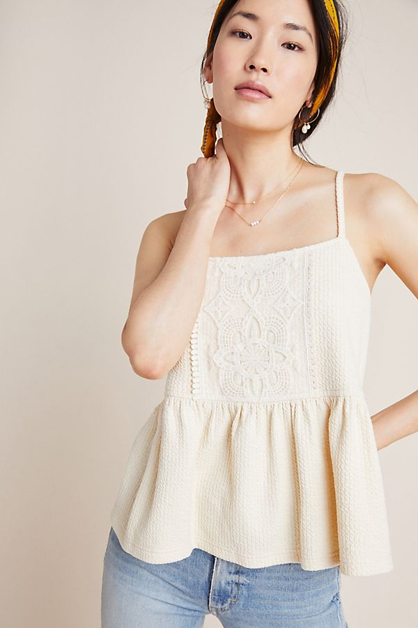 Slide View: 1: Lace Peplum Tank