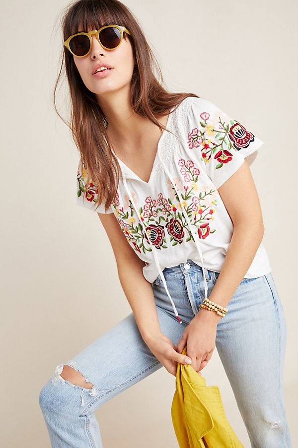 Slide View: 1: Elodie Embroidered Top
