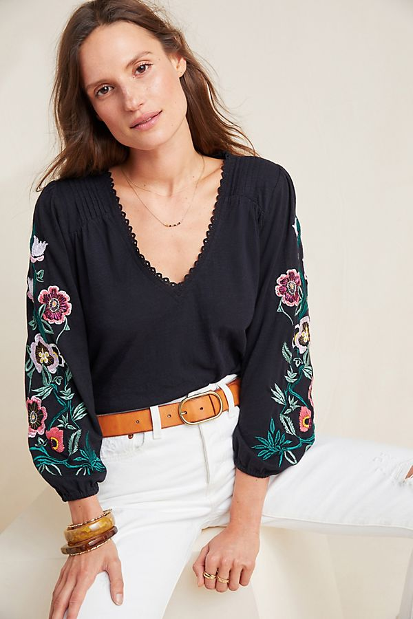 Slide View: 1: Helene Embroidered Peasant Blouse