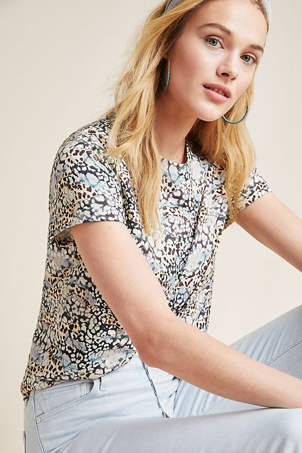 Slide View: 1: Painterly Leopard Tee