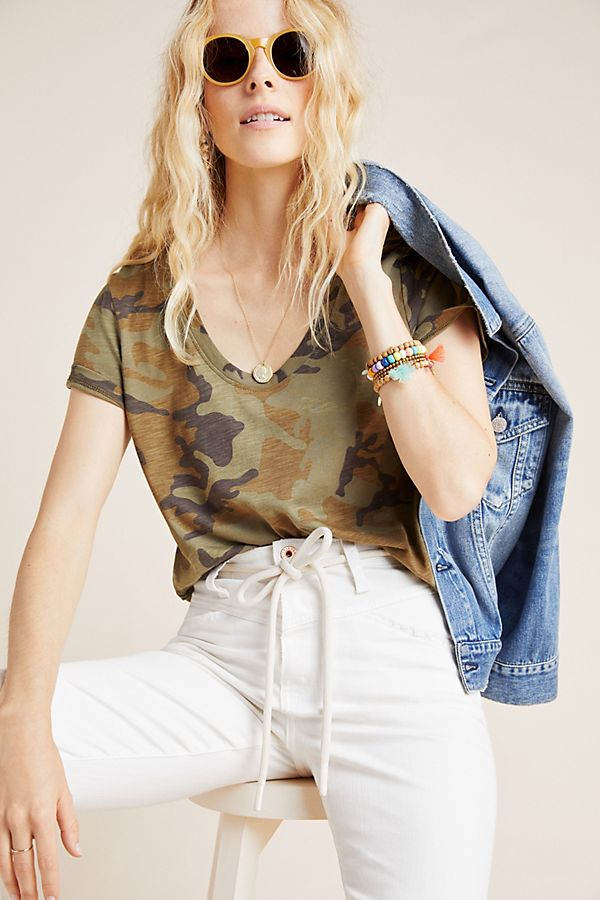 Slide View: 1: Sanctuary Camo Scoop Neck Tee