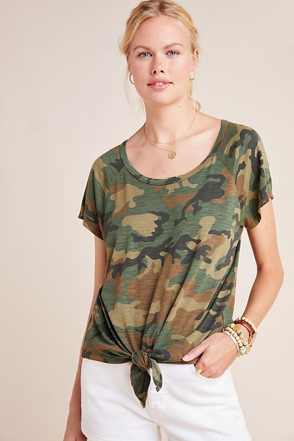 Slide View: 1: Sanctuary Lou Camo Front-Tie Tee