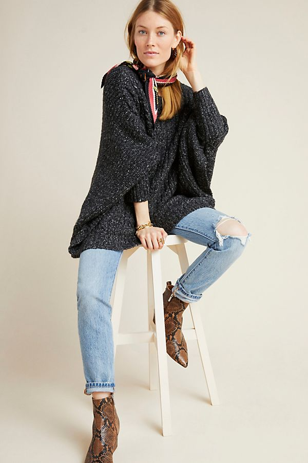 Slide View: 1: Abigail Textured Poncho Sweater