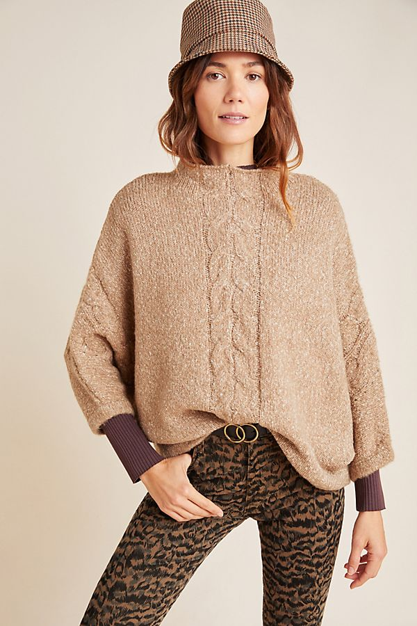 Slide View: 1: Mya Cable-Knit Poncho Sweater
