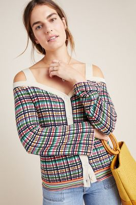 Krissy Plaid Cold Shoulder Cardigan by Anthropologie