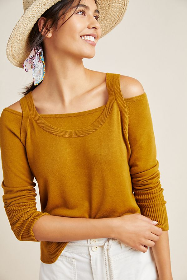 Slide View: 1: Jamie Open-Shoulder Knit Top