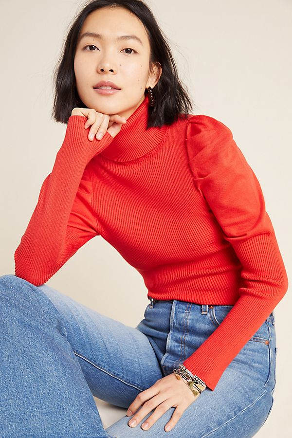 Slide View: 1: Cecilia Puff-Sleeved Turtleneck Sweater