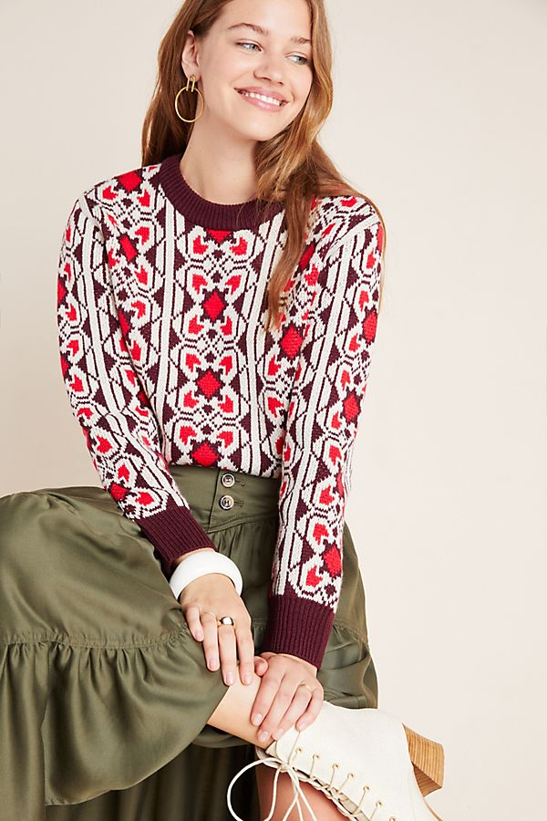 Slide View: 1: Geometric Floral Cropped Pullover
