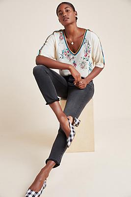 Slide View: 1: Floral Short-Sleeved Sweater