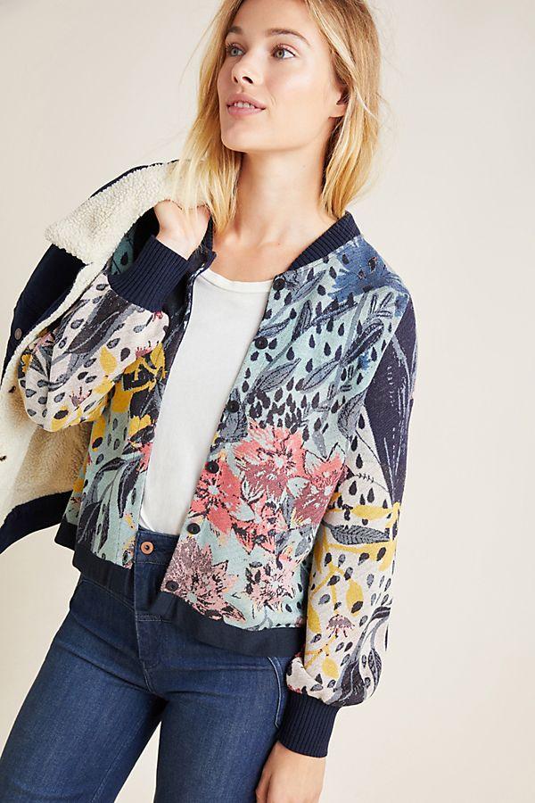 Slide View: 1: Graciela Floral Bomber Jacket