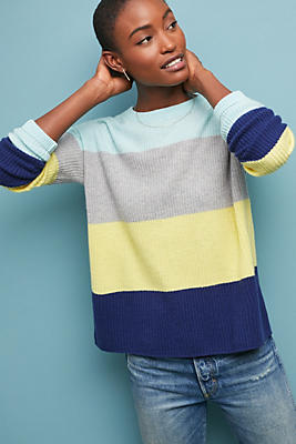 Colourblocked Striped Cashmere Jumper by Cocoa Cashmere