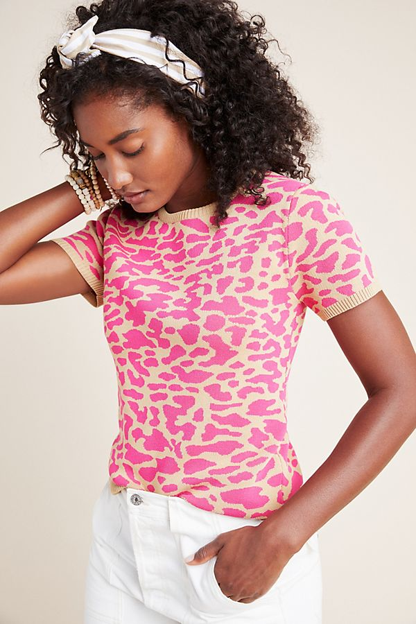 Slide View: 1: Thea Leopard Knit Top