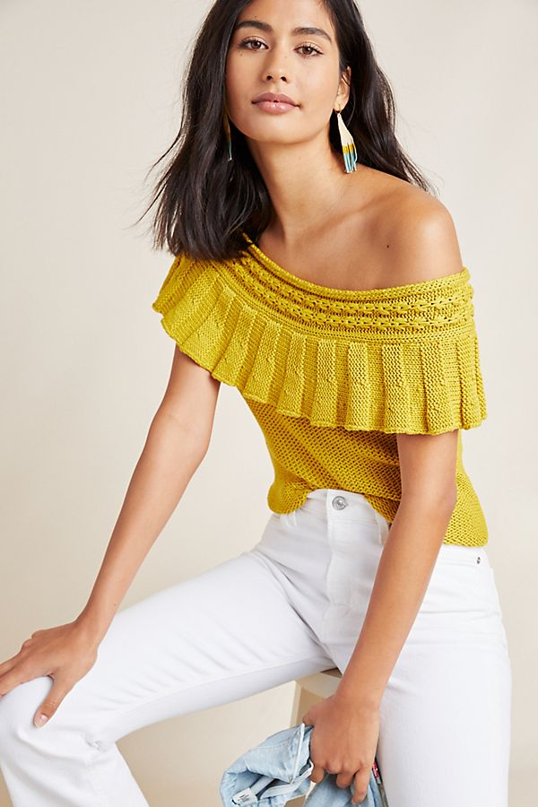 Slide View: 1: Ruffled Off-The-Shoulder Top