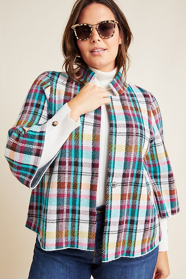 Slide View: 5: Rosetta Cropped Plaid Jacket