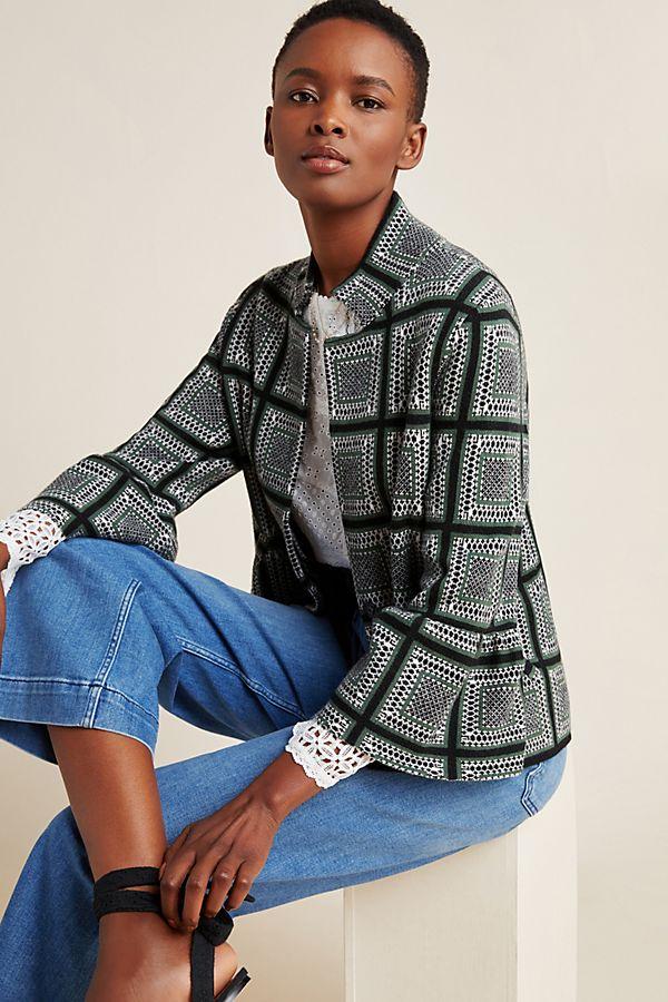 Slide View: 1: Kahla Mock Neck Sweater Jacket