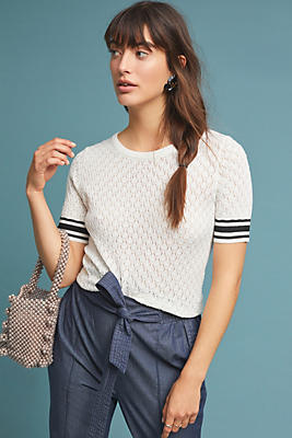 Slide View: 1: Sporty Pointelle Sweater Tee