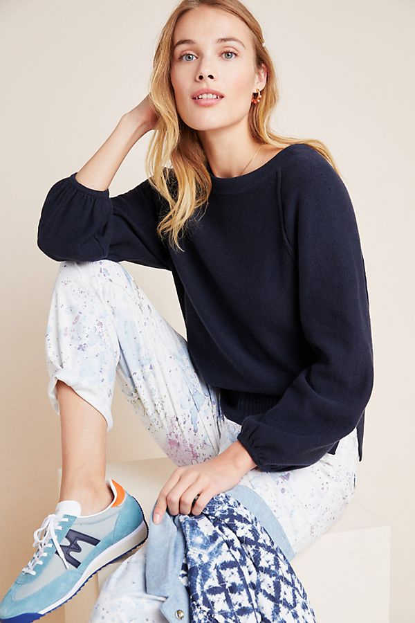 Slide View: 1: Emily Puff-Sleeved Sweater