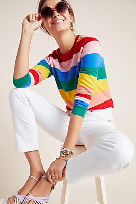 Slide View: 1: Rainbow-Striped Cashmere Pullover