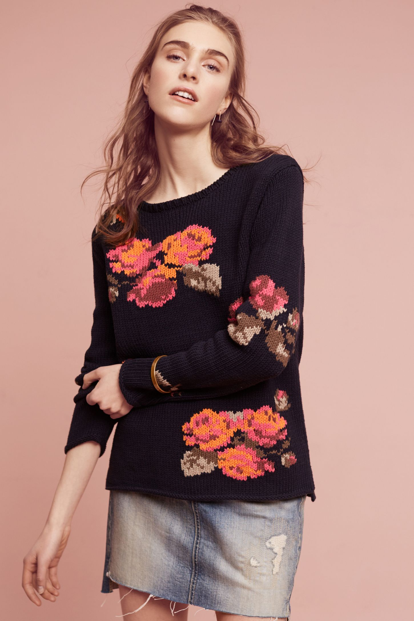 9d81fbcc9b0 Floral Knit Pullover   Anthropologie