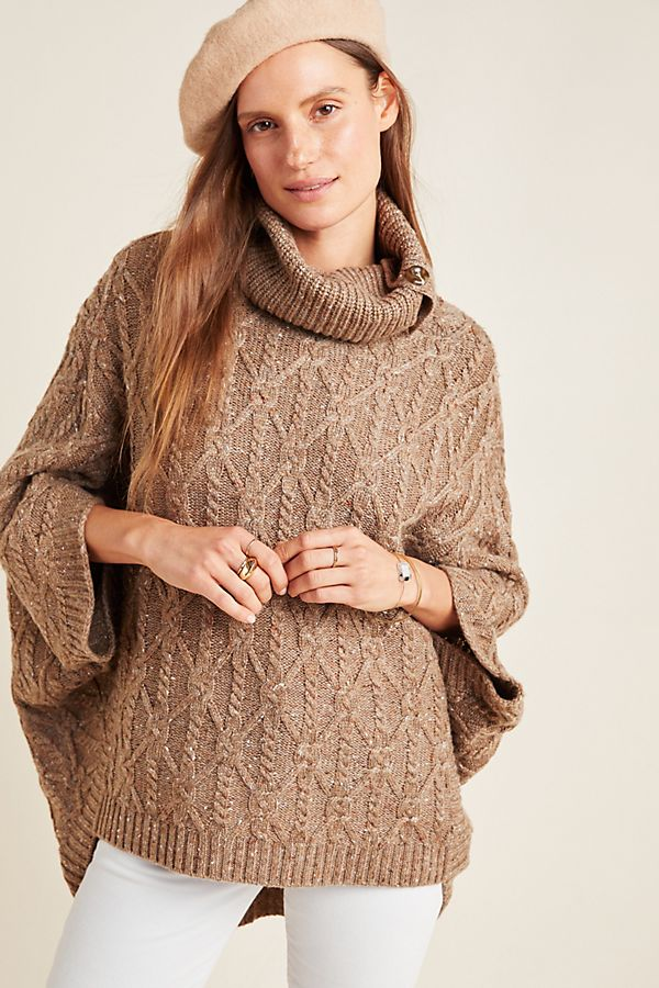 Slide View: 1: Corinne Cable Knit Poncho
